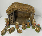 Vintage Christmas Nativity Set With Plastic Figures Made In Italy