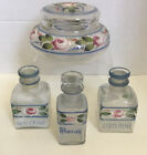 ANTIQUE ART DECO PAINTED ROSES GLASS POWDER JAR APOTHECARY VANITY SET