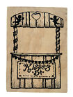 VTG Kissing Booth Love Cupid Valentines Day Wood Rubber Stamp 1997 RARE FIND