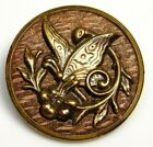 Antique Vtg Button Large Brass BUTTERFLY on a Flower w a Wood Back NICE