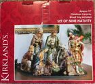 Kirklands Christmas Ceramic Wood Tray Set Of 9 Nativity 12
