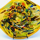 Hand Blown Studio Glass Platter Tray Bowl Amber Millefiore Large Biomorphic 18