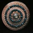 Antique Vtg Button Engraved Pearl Shell w Blue Glass Seed Beads  Steel K2