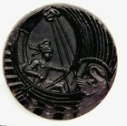 Antique Vtg Button Large Victorian Black Glass Pictorial BOY in a SWAN Boat