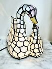 Mosaic Stained Glass Swan Lamp Night Light Tiffany Style Mother Baby Opalescent