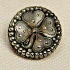 Antique Vtg Button Small Victorian LACY Glass 4 Leaf CLOVER