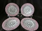 Set of 4 SYDENSTRICKER PLATES Signed SYD Fused Art Glass Pink Embassy Lace 675