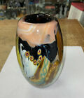 Mark Russell Studio Art Glass Layered Cased Abstract VASE 9 79 Signed