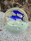 HAND BLOWN DYNASTY GALLERY ART GLASS PAPERWEIGHT Ocean Blue Dolphins Whales Vtg