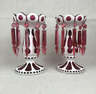 Antique Pair of Victorian Mantle Lusters Bohemian Czech White  Cranberry Glass