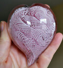 Authentic MURANO HEART Glass Paperweight Venice Vetro Artistico Pink White COA