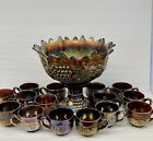 Northwood Grape  Cable Carnival Glass Glass Punch Bowl Base 15 Cups WOW