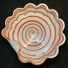 Dino Martens style Mid Century Italian Cased Glass Bowl Orange Spiral
