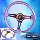 For Nissan 6 Bolt Purple Neo Chrome Steering Wheel 3 Spokes Newbie Leaf Button