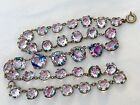 Vintage Antique Art Deco Iris Glass Crystal Open Back Bezel Necklace