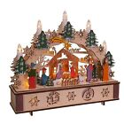 Kurt S Adler 11 Inch Battery Operated Light Up Wooden Nativity Scene with Ca