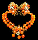 Rare Vintage Early Miriam Haskell Orange Glass Necklace  Earrings Set A11
