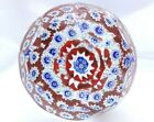 Murano Red White  Blue Millefiori Multi faceted Paperweight FREE SHIP