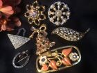 Vintage Deco Pins Dress Clip Lot Rhinestone Enamel Flowers Glass Estate Jewelry