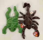 Lot of 2 Beanie Baby 1993 Legs Frog Green & 1998 Stinger Scorpion Brown