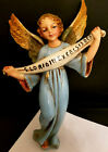 Vtg Blue Angel Gloria in Excelsis Deo Christmas Nativity Figure Statue Hanging
