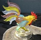 Murano Glass Rooster Figurine Signed Eugenio Ferro Gold Inclusions Pastels Older