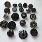 ANTIQUE BLACK GLASS BUTTONS SILVER LUSTERGOLD LUSTER COUPLE BUCKLE STAR