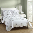 NEW COZY SHABBY CHIC COUNTRY WHITE PURPLE LILAC LAVENDER LEAF GREEN QUILT SET