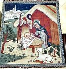 Christmas Nativity Woven Hanging Wall Quilt Quilt 54X47 Holiday Throw Blanket