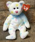 TY BEANIE BABIES KISSME 2001 RETIRED, WHITE W/PASTEL-COLORED HEARTS W/TAGS