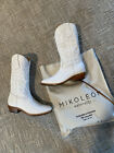Mikoleon White Leather Etta Cowboy Boots Size 7 Brand New