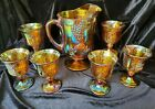 Indiana Carnival Glass Harvest Grape Pitcher  6 Goblets Iridescent Gold Amber