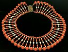 Huge Rare Vintage Signed Miriam Haskell Gilt Coral Glass Pearl Bib Necklace A5