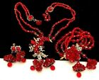 Rare Vintage Miriam Haskell Red Glass Bell Necklace Bracelet  Earrings Set A12