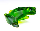 LALIQUE Green Glass Crystal Jumping Frog Figurine Signed France Retired Box