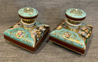Antique French Oriental Pair Hand Painted Porcelain Perfume Powder Vanity Bottle
