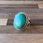Vintage Native American Navajo Sterling Silver Green Turquoise Ring Size 725