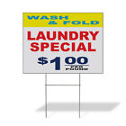 Weatherproof Yard Sign Wash Fold Laundry Specials 1.00 Yellow Red Blue