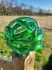 Abstract Blown Glass Knot Sculpture Green Modern Art 7