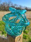 Abstract Blown Glass Knot Sculpture Blue Modern Art 7