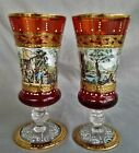 Signed Pair Hand Painted Enamel Glass Goblet Cordial Czech Moser Style Bohemian