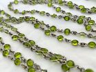 Vintage Antique Art Deco Czech Paste Peridot Glass Bezel Open Long Necklace