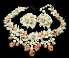 Rare Vintage Early Miriam Haskell Milk Pink Art Glass Necklace Earring Set A19