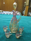 Antique Vintage Moser or Bohemian Enamel Decorated glass Decanter w 4 small mugs