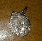 VINTAGE P B STERLING SILVER INDIAN CHIEF HEAD CHARM PENDANT NATIVE AMERICAN