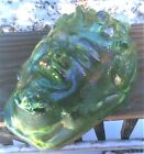 Fenton Heartlights Apple Green Carnival Glass Pan Mask God of Theater