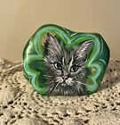 Fenton Paperweight Gray Kitty CAT Portrait in Shamrock OOAK Rachelle