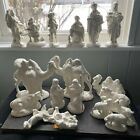 Vintage Atlantic Mold Ceramic Nativity Figures large lot 18 pieces white glaze