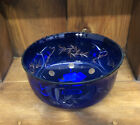 Large Vintage BOHEMIAN GLASS BOWL Czech Cut Cobalt Blue To Clear Crystal