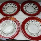 Kings crown ruby red thumbprint glass dishes x 4